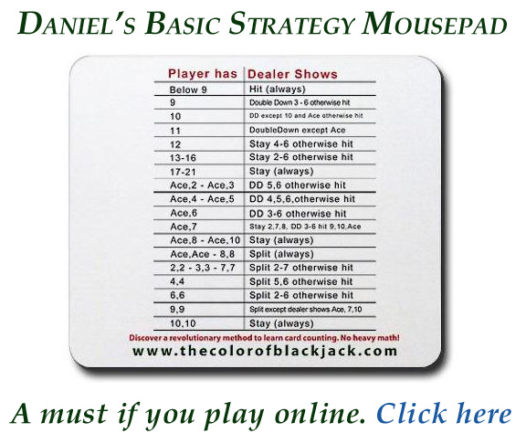 Mousepad with blackjack basic strategy imprinted on it