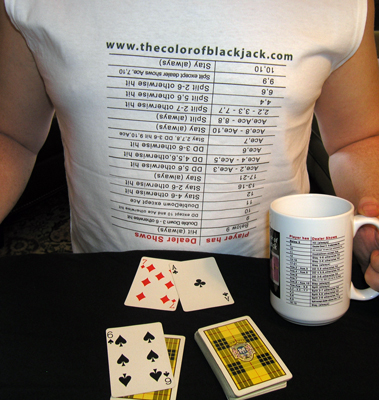 Blackjack Basic Strategy Table upside down on a t-shirt